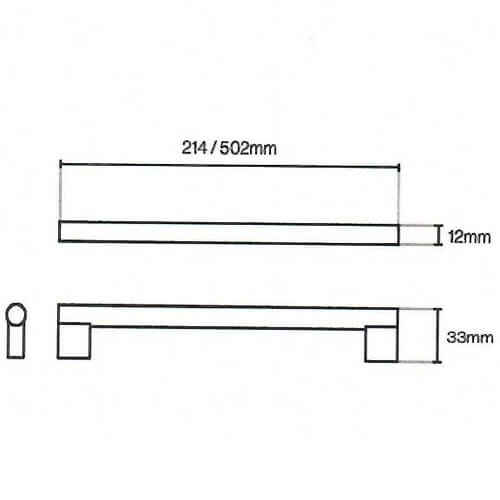Aries Steel Bar Kitchen Door Handle Diagram