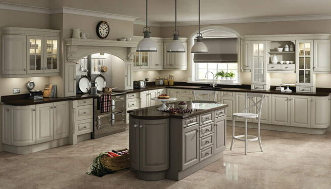 Calcutta kitchen finished in ivory stone and grey