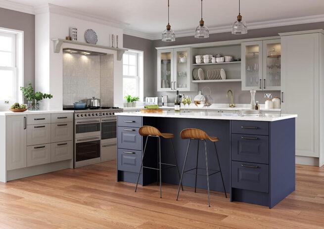 Chatham Kitchen Serica Finish Light Grey and Marine Blue