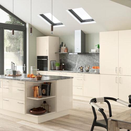 Cutler Gloss Ivory Kitchen Doors