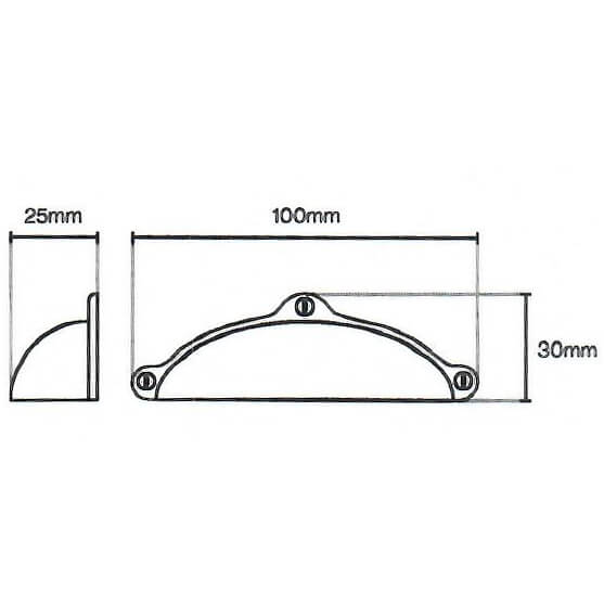 Finsbury Cup Pewter Door Handle 120 Diagram