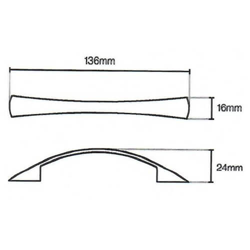 Tapered Bow Kitchen Handle Diagram