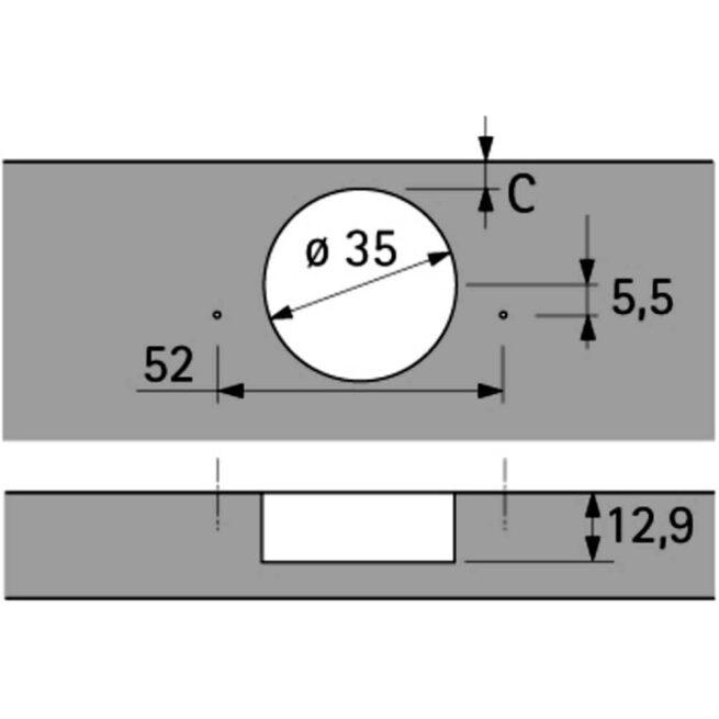 Hettich 9073605 Hinge Diagram