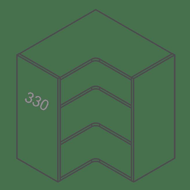 ClicBox 720 628 Corner Kitchen Wall Cabinet Corner