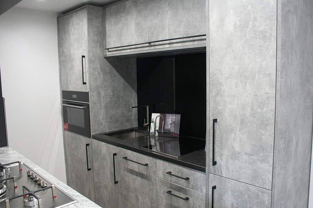 Light Concrete Effect Slab Doors Caple Appliances Showroom