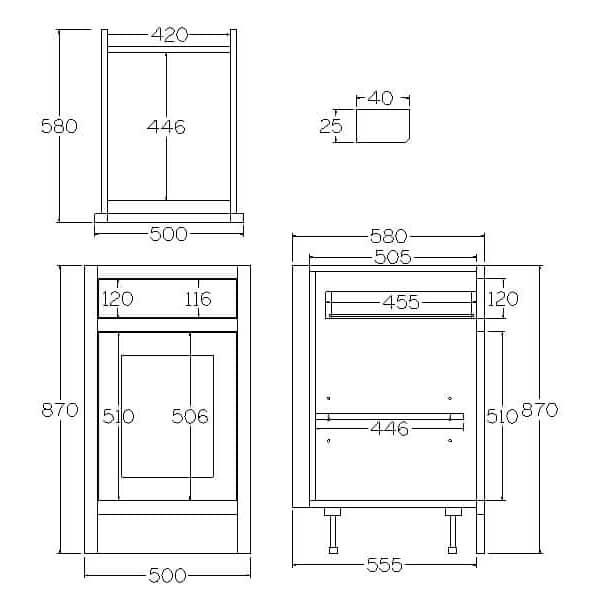 BDL500 Base Single Door and Drawer Cabinet