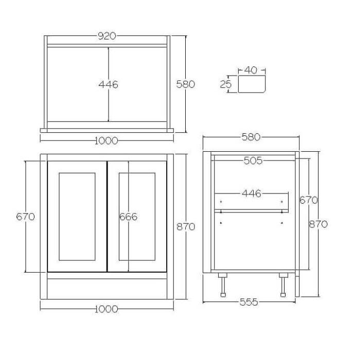 BHL1000 Base Double Door Cabinet Tech Diagram