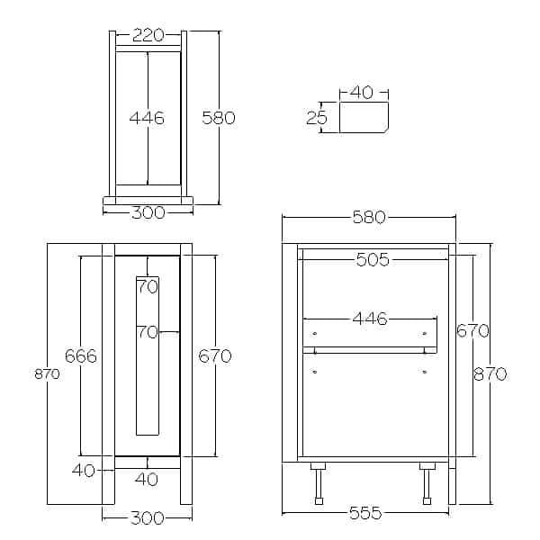 Pure Base Single Door Cabinet 300mm