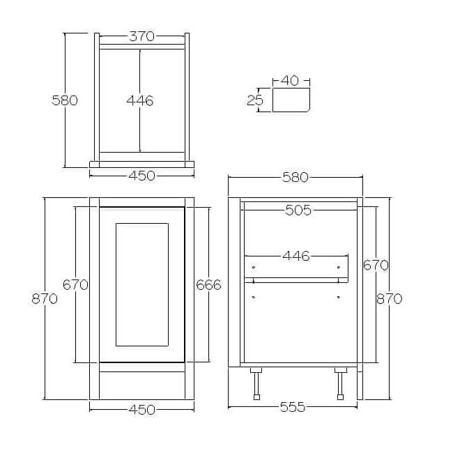 Pure Base Single Door Cabinet 450mm