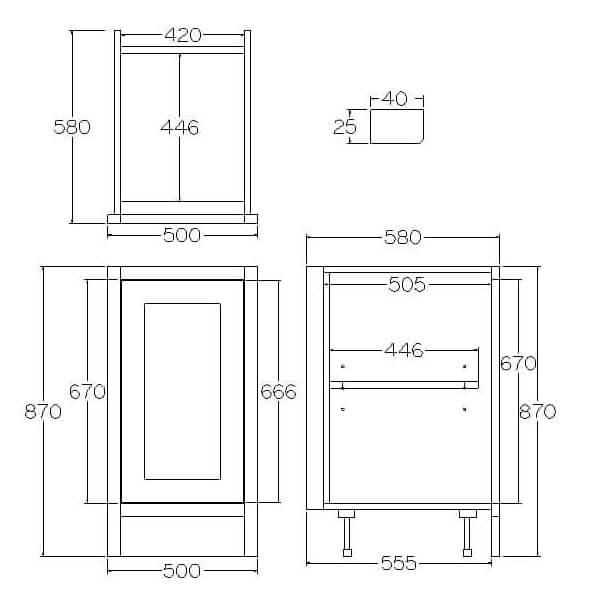 Pure Base Single Door Cabinet 500mm