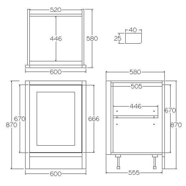 Pure Base Single Door Cabinet 600mm