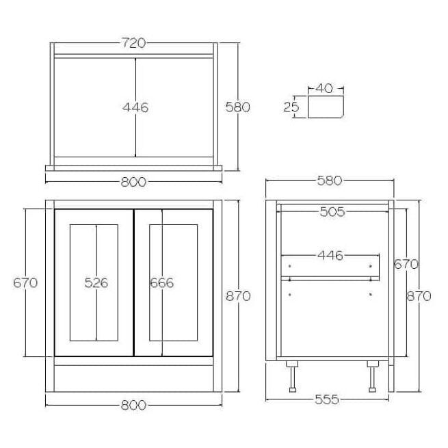 BHL800 Base Double Door Cabinet Tech Diagram