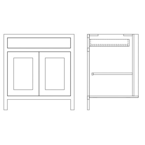 Base Double Door and Single Door Cabinet