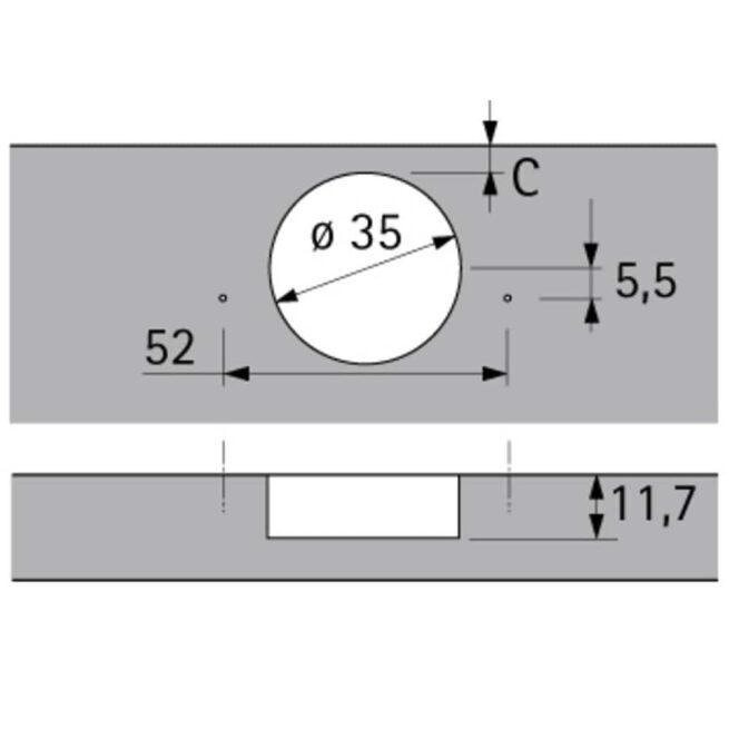Hettich 1029518 / 48049 Tech Diagram