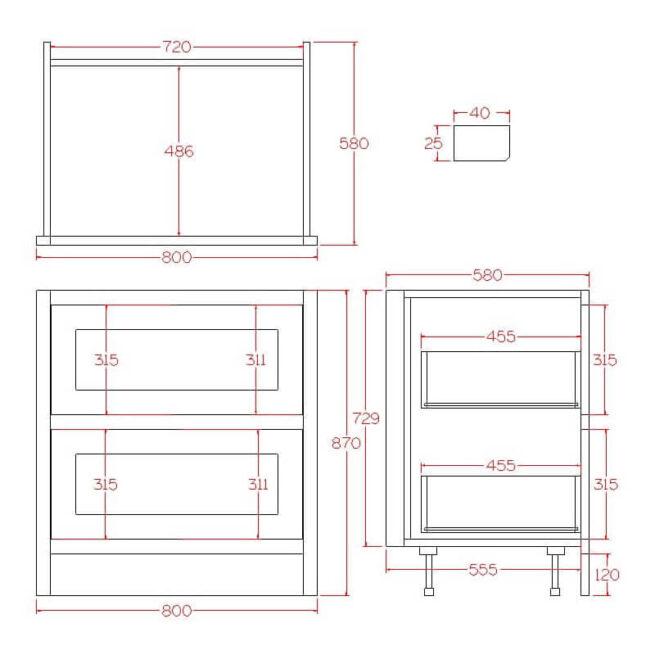 B2D800 Base Pan Drawer Cabinet