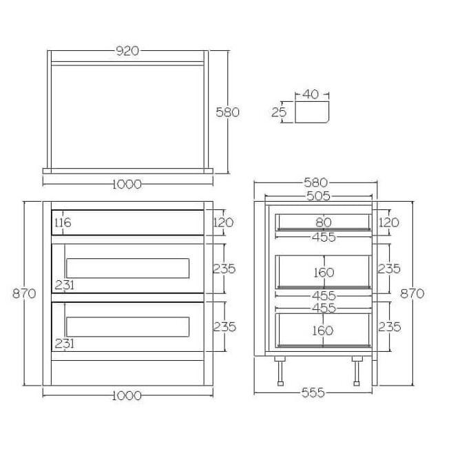 B3D1000 Base Drawer and Pan Drawer Cabinet