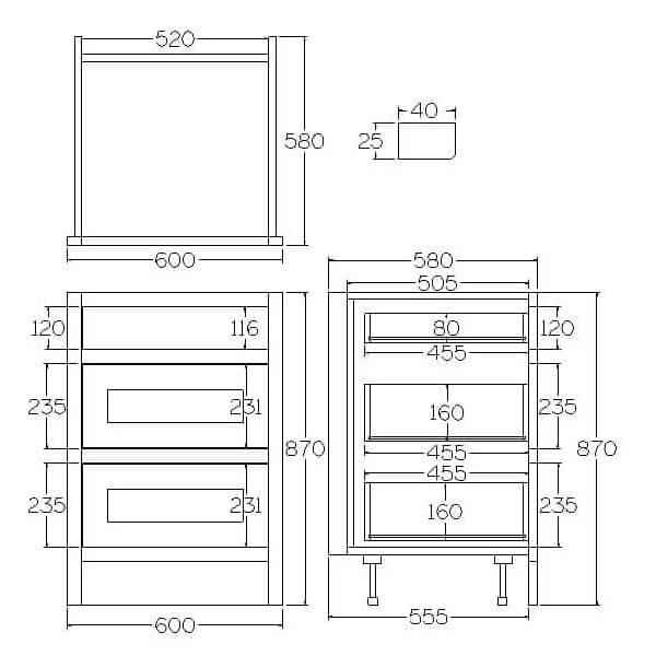 B3D600 Base Drawer and Pan Drawer Cabinet