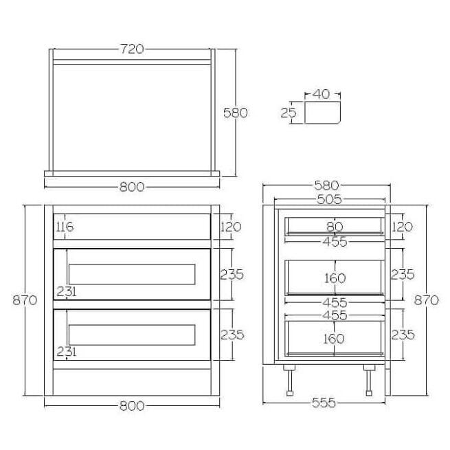 B3D800 Base Drawer and Pan Drawer Cabinet