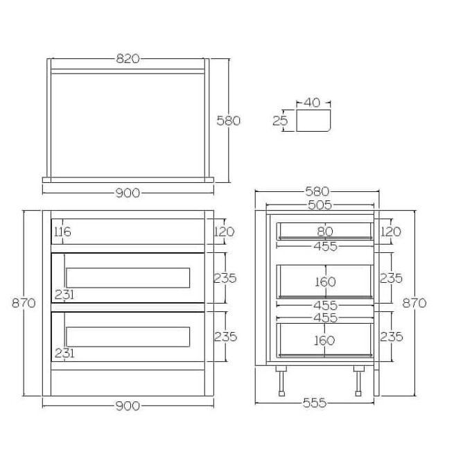 B3D900 Base Drawer and Pan Drawer Cabinet