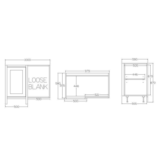 BBC1000 Base Blind Corner Cabinet Diagram