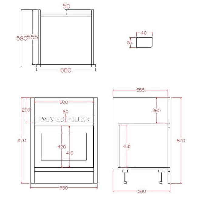 BPS2 Base Single Door Pot Sink Cabinet Diagram