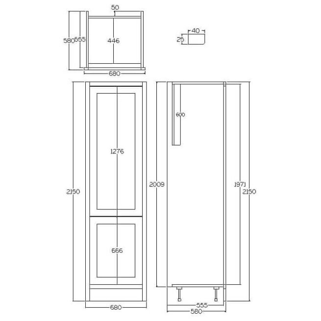 TFF680 Tall integrated fridge / freezer housing cabinet Diag