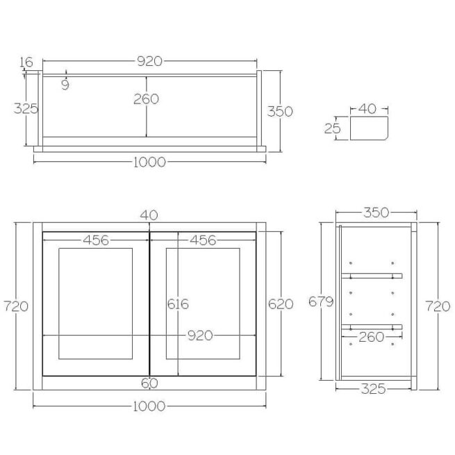 W1000 Wall Full Height Double Door Cabinet