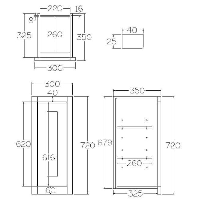 W300 Wall Full Height Single Door Cabinet