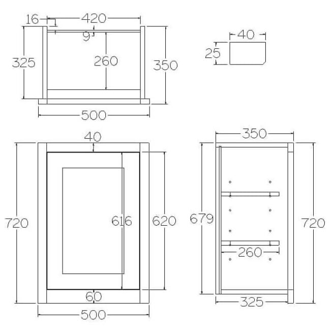 W500 Wall Full Height Single Door Cabinet