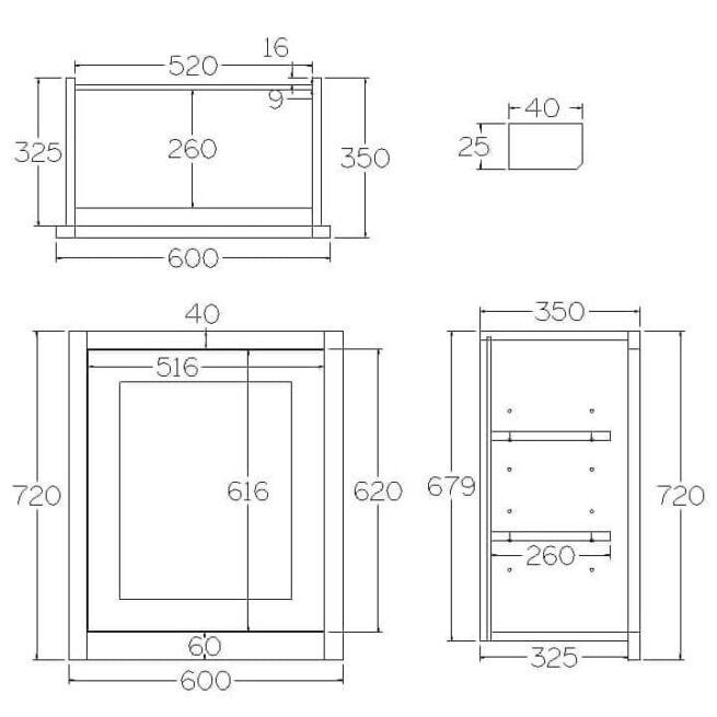 W600 Wall Full Height Single Door Cabinet