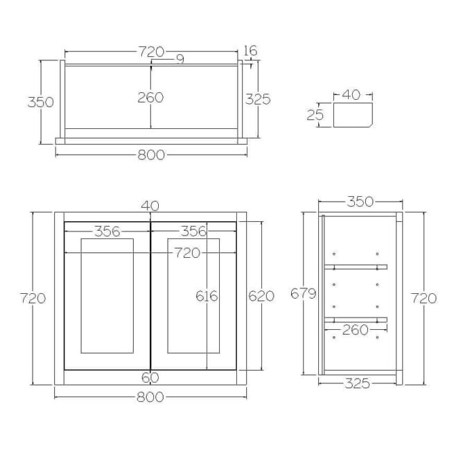 W800 Wall Full Height Double Door Cabinet