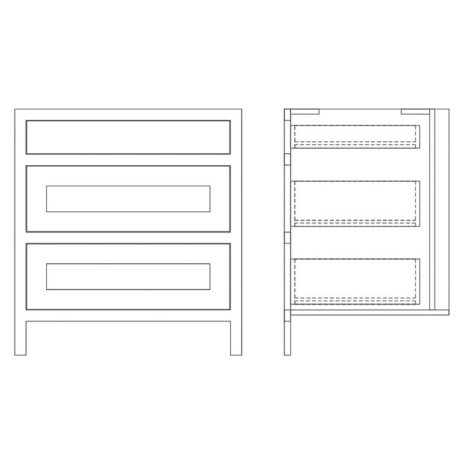 Base Drawer and Pan Drawer Cabinet