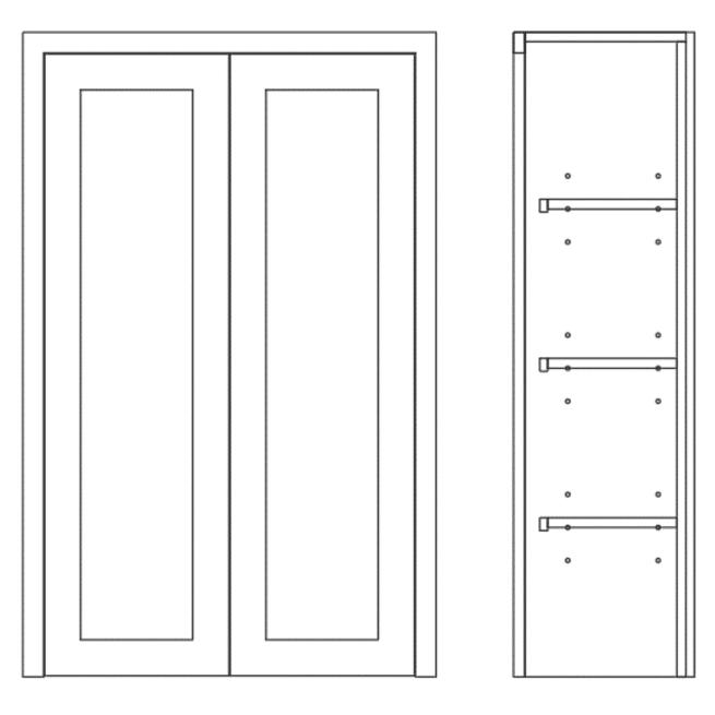 Dresser Bi Folding Double Door Cabinet