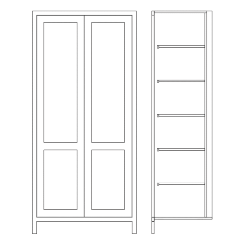 Tall Double Door Larder Cabinet