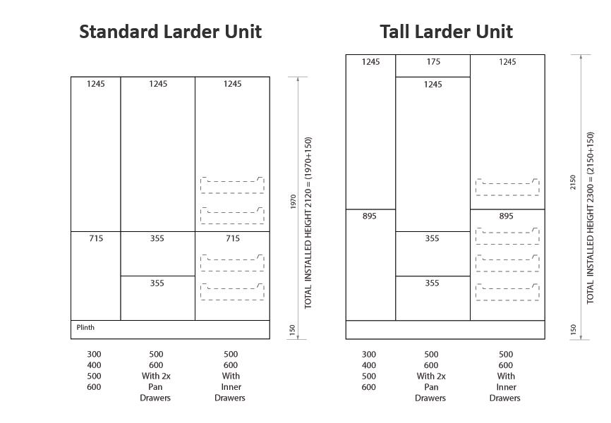 Tall and standard larder kitchen units